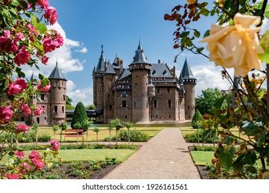 Castle de Haar Utrecht, view of De Haar Castle in Dutch Kasteel de Haar is located in Utrecht Netherlands the current buildings all built upon the original castle, date from 1892 Netherlands