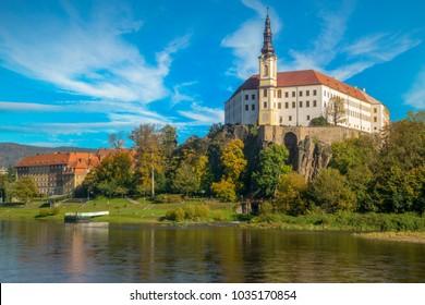 Castle in Decin on the Elbe in the Czech Republic