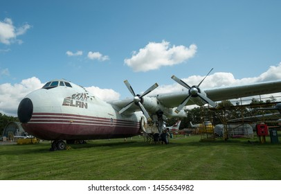 Castle Donington, East Midlands, UK 07/19/2019 Obsolete cargo aircraft on display