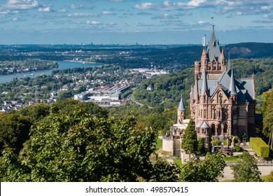 Castle Drachenburg, Rhine valley and the city of Bonn