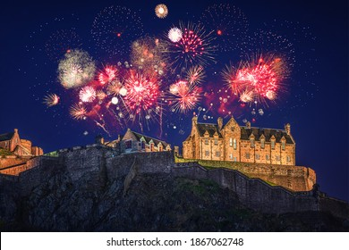 The castle of Edinburgh with fireworks during Hogmanay
