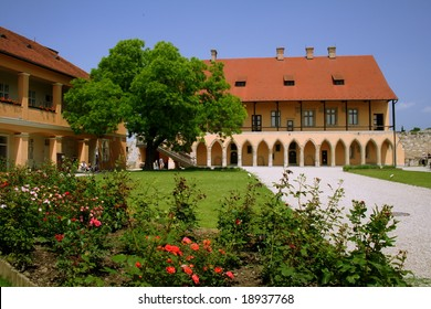 castle in Eger, Hungary with roses