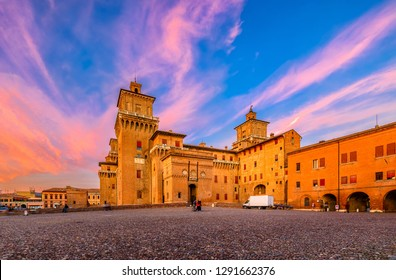 Castle Estense (Castello Estense) in Ferrara, Emilia-Romagna, Italy. Ferrara is capital of the Province of Ferrara