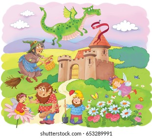 A castle and fairy tale characters. Cute witch, fairies, dwarf, troll and dragon. Poster.Fairy tale. Illustration for children. Coloring book. Coloring page. Funny cartoon characters