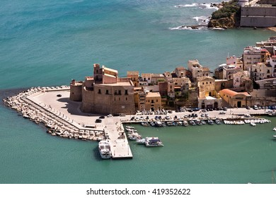 The castle of the fishing  port - Castellammare del Golfo, Sicily. Important tourist location situated between Palermo and Trapani - Italy
