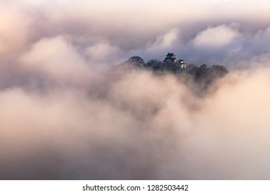 A castle floating on a sea of clouds, Echizen-Oono Castle, Fukui prefecture, Japan