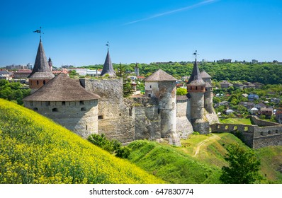The castle and fortress of Kamyanets-Podilskiy, Ukraine. View from â??Newâ?� ground fortification.