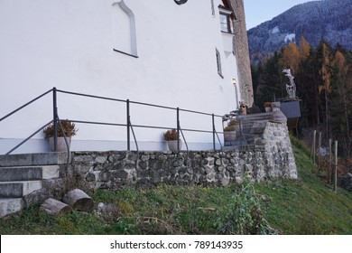 Castle Freundsberg with roman catholic chapel in Schwaz Tyrol Austria late in the afternoon on a autumn day