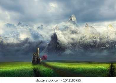 castle in front of mountain stream ice with clouds on a grass