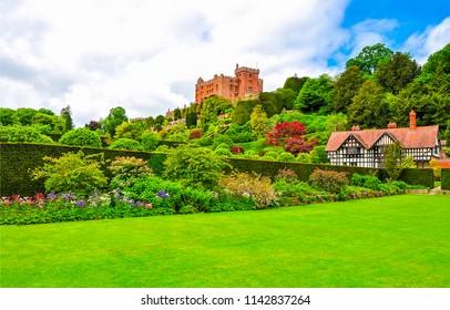 Castle garden summer green landscape. Summer green castle garden panorama. Castle garden view