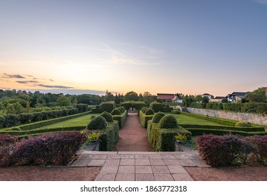 Castle garden at sunset in castle of Nove Mesto nad Metuji, Czech republic - Shutterstock ID 1863772318