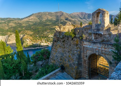 Castle gate of Assos village castle in Cephalonia island in Greece. Is one of the largest castles in Greece and its construction, in late-16th century, was an ambitious project by the Venetians