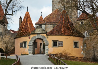 castle gate of the famous medieval town Rothenburg ob der Tauber in Germany