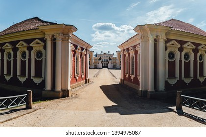 Castle gates, Sand road by the baroque style castle in Rundale, Latvia