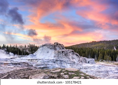 Castle Geyser at sunset in Yellowstone National Park.