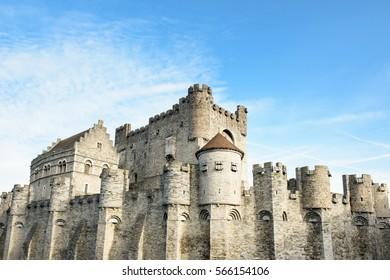 Castle in Ghent. Medieval fairytale castle Gravensteen (Castle of the Counts) in Ghent, Flanders, Belgium.