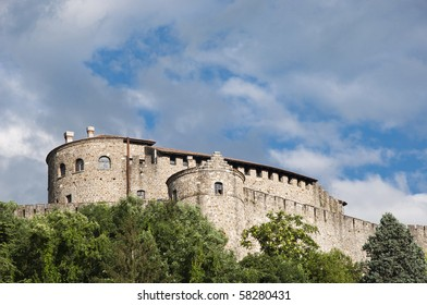 Castle in Gorizia (Italy) on the hill with cloudy sky in the background