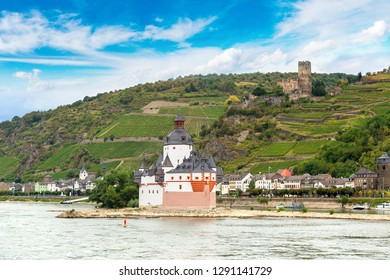 Castle Gutenfels and Pfalzgrafenstein in Romantic Rhine valley is a winemaking area in a beautiful summer day, Germany