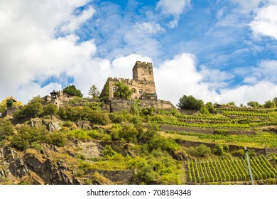 Castle Gutenfels in Romantic Rhine valley is a winemaking area in a beautiful summer day, Germany