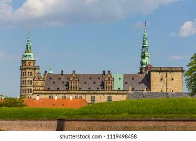 The castle of Hamlet, Kronborg castle at Oresund in Elsinore Denmark when the spring has arrived