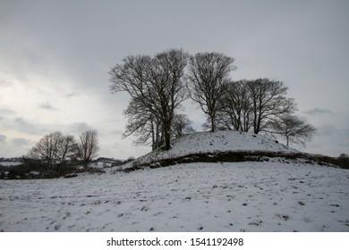 Castle Hill in Bampton, Devon after snow