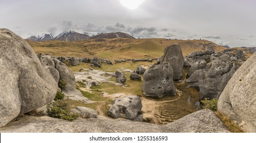 The Castle Hill Conservation Area or  Kura Tawhiti, Arthur's pass, Limestone rock formations, Southern Alps, South island, New Zealand