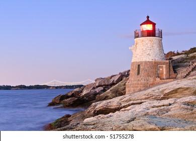 Castle Hill Lighthouse and Newport Bridge , Rhode Island
