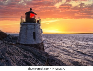 Castle Hill Lighthouse in orange sunset