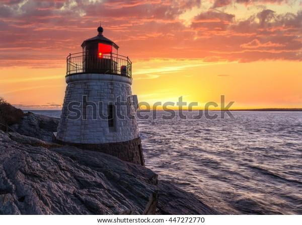Castle Hill Lighthouse in orange sunset