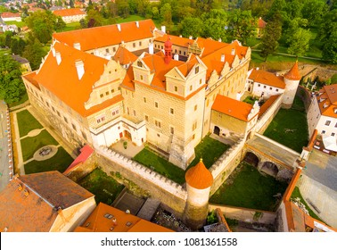 The castle Horsovsky Tyn founded in the half of the 13th century. In 1547, it was rebuilt into a fascinating monumental renaissance castle. Czech Republic. Aerial view of a landmark in Czech Republic.