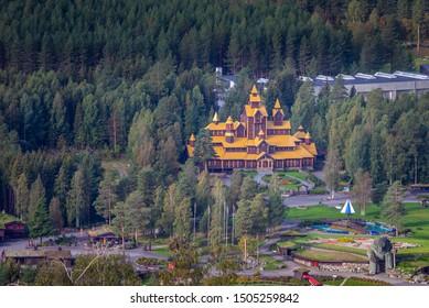 The castle of Hunderfossen in Norway