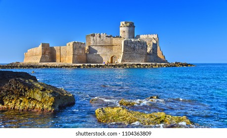 The castle in the Isola di Capo Rizzuto in the Province of Crotone, Calabria, Italy.