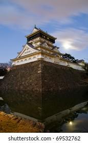 Castle in the Japanese Kokura of moonlight night