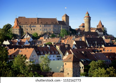 Castle Kaiserburg in Nuremberg in Bavaria, Germany with old town in summer