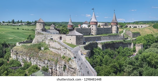 The Castle in Kamianets-Podilskyi, Ukraine. This is a former Ruthenian-Lithuanian castle and a later Polish fortress. It was first mentioned in the 14th century.