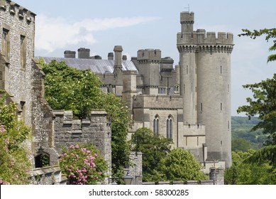 Castle keep, walls and tower. Arundel. West Sussex. England