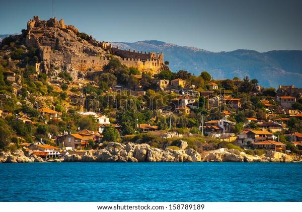 castle in Kekova, Antalya, Turkey