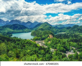 Castle and Lake, Hohenschwangau, Fussen, Germany.
