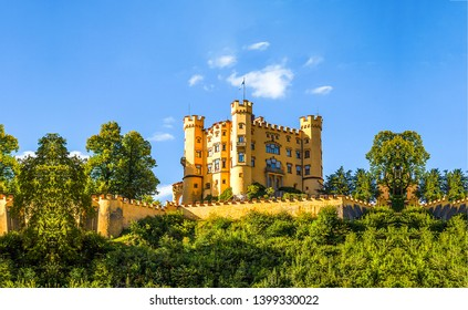 Castle landscape in sunny day. Castle hill landscape. Yellow castle landscape. Castle on blue sky background
