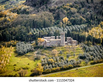 Castle with landscape from the walls of Orvieto, Umbria Italy