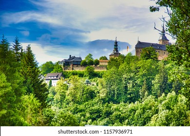 Castle Lauenstein in the Franconian Forest / Bavaria. Medieval hilltop castle at 550 m above sea level. NN above the Upper Franconian village Lauenstein