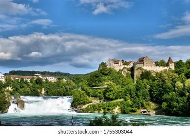 Castle Laufen-Uhwiesen at the rhine falls in Switzerland 20.5.2020