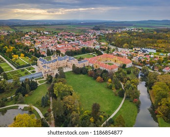 Castle Lednice in Czech Republic - aerial view - travel and architecture background