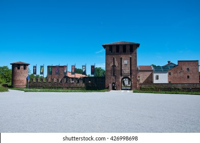 castle of legnano, a small town just outside milan, decorated for grabs with the flags of the eight districts, italy