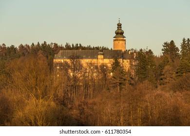 castle Lemberk at sunset, Czech republic