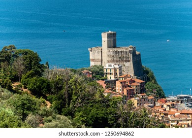 The Castle of Lerici (1152-1555) typical seaside small town in Liguria - Gulf of La Spezia, Italy, Europe