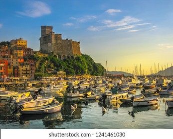 Castle of Lerici in San Giorgio square at sunset. View from Lerici harbor at twilight. Italy in Liguria province.