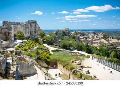 Castle Les Baux de-Provence, Provence, France on warm sunny day.
