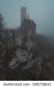"Castle ""Lichtenstein"" in front of a cloudy sky"