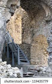 Castle of Lietava. Interior walls with stairs. Slovakia.